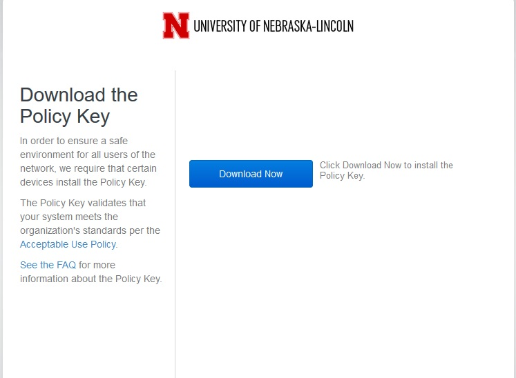 Policy Key download window